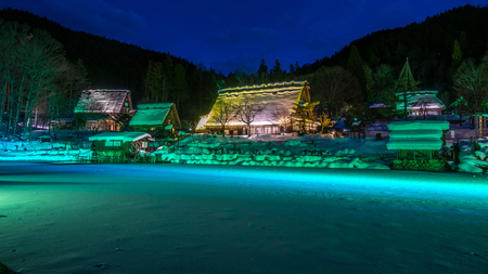 the historic traditional Japanese village - Hida folk village in the Gifu, Japan. Editorial