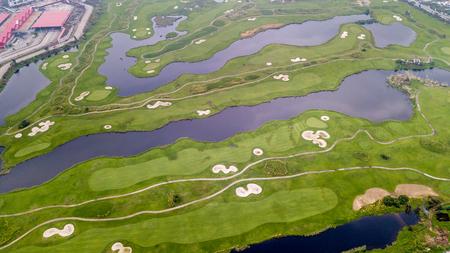 De vogel mening van Macau golfbaan in Taipa, China. Stockfoto - 85679846