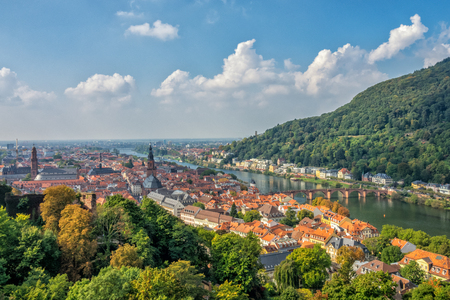 Birds-eye view of Heidelberg which is a college town in Baden-Württemberg situated on the river Neckar in south-west Germany.
