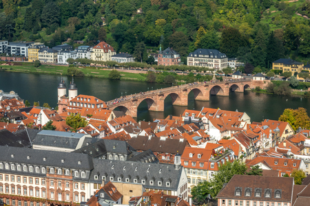Birds-eye view of Heidelberg which is a college town in Baden-Wurttemberg situated on the river Neckar in south-west Germany.