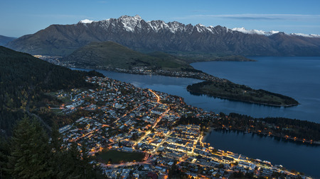 The bird's eye view of the night lights of Queenstown, South Island of New Zealand.
