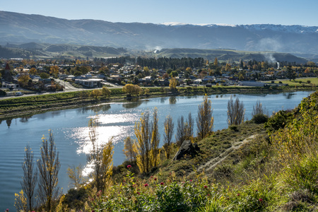 The colourful Autumn view of  Arrow town in south island of New Zealand.