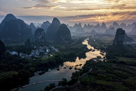 Yulong river in Yangshuo county of Guilin, Guangxi of China. Stock Photo