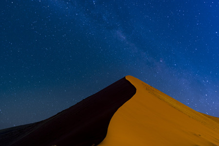 The dune 40 with galaxy in Sossusvlei, Namibia.