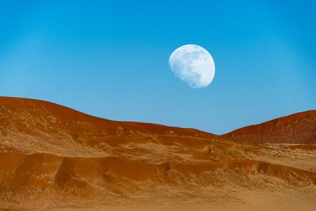 The dunes with moon in  Dead Vlei, Sossusvlei, Namibia. Stok Fotoğraf