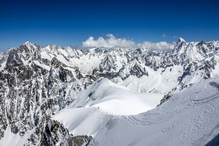 Mont Blanc mountain peak. Highest peak in the Alps and Europe.
