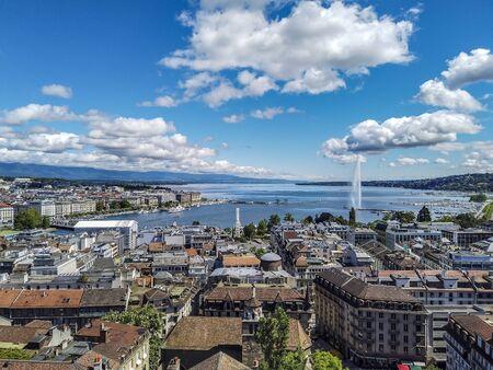 The bird's eye view of Geneva lake and city in Switzerland.