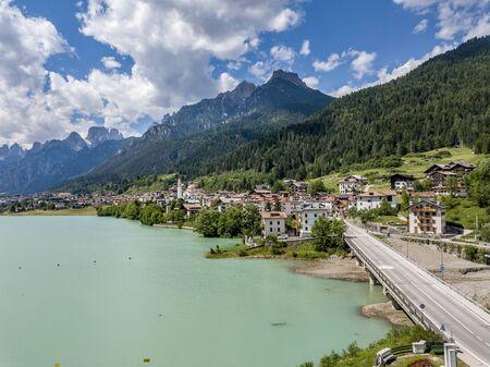 Lago di Santa Caterina of Auronzo, Veneto, Italy. Фото со стока
