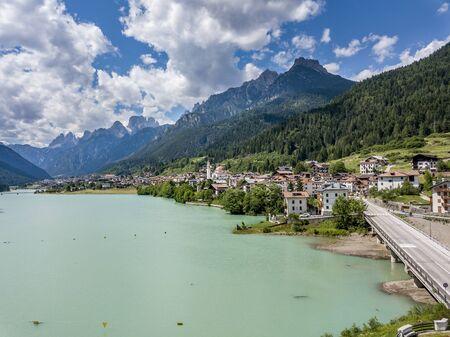 Lago di Santa Caterina of Auronzo, Veneto, Italy. 스톡 콘텐츠