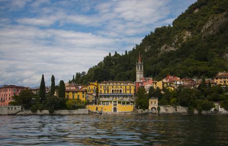 Long shot or Varenna, Italian city at the Como Lake
