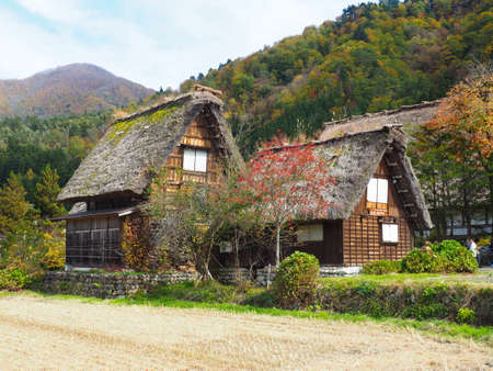 gokayama: Shirakawa Go, Japan, 2015. One of the many houses in Shiragawa Go during Autumn. Editorial