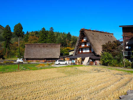 ogimachi: Shirakawa Go, Japan, 2015. One of the many houses in Shiragawa Go during Autumn. Editorial