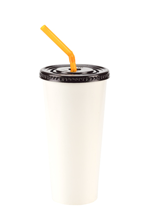 objects with clipping paths: cream white Paper Cup close up
