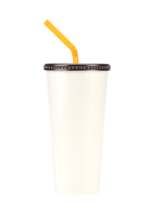 objects with clipping paths: cream white Paper Cup close up + clipping paths Stock Photo