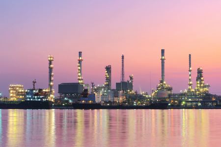 Refinery oil industry at sunrise Stock Photo