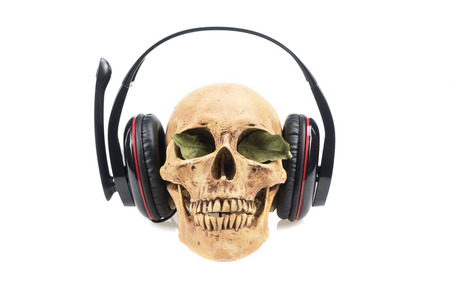 detestable: Human skull  in headphones isolated on a white background.