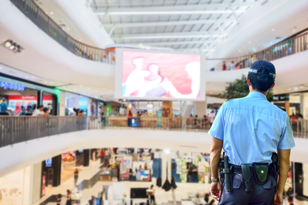 armed services: Security guard in shopping mall