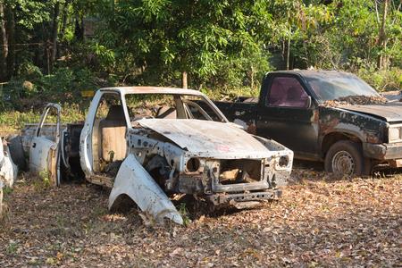 rusty car: Old rusty wrecked car