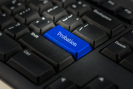 probation: Close-up view on conceptual keyboard - Probation    (blue key)