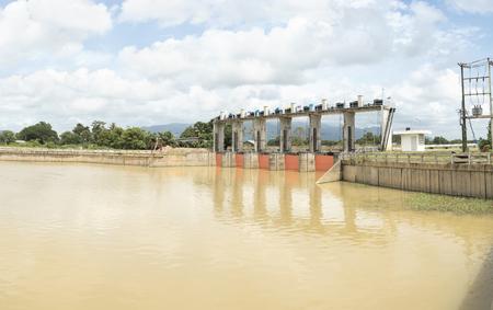 lift gate: Water lift gate,small dam Stock Photo