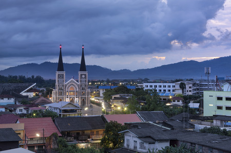 Roman Catholic Church at sunset, Chanthaburi Province