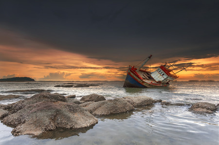 wrecked: ship wrecked at sunset in Chonburi ,Thailand