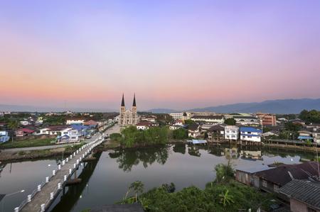 Top eye view Catholic Church with a beautiful sunset in Chantaburi province, Thailand. Stock Photo