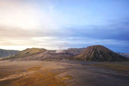 Mountain Bromo volcano during sunrise, the magnificent view of Mountain Bromo
