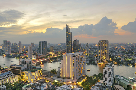 Beautiful Twilight Above Bangkok city Thailand