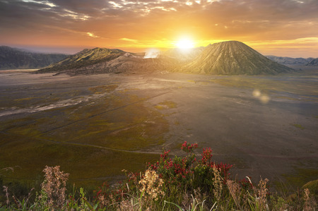Mount Bromo (Gunung Bromo) at sunrise in East Java, Indonesia.