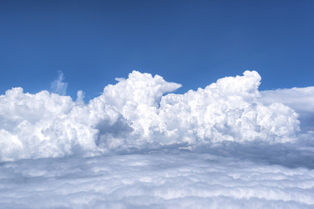 Blue sky with clouds. View from from airplane Stok Fotoğraf