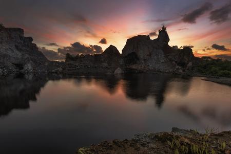 Mountain rock lake sunset