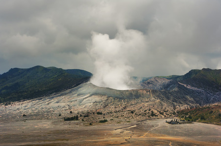 Mount Bromo is an active volcano located in East Java, Indonesia. Stok Fotoğraf