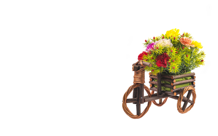 Flower on wood bicycle white background Stok Fotoğraf