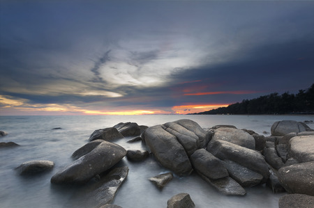 Lan Hin Khao rock beach in Rayong, Thailand at sunset Stock Photo