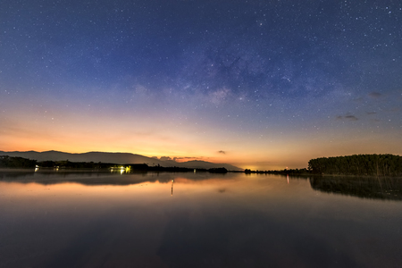 Milky way in the lake