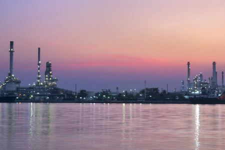 Oil Refinery at Twilight In Thailand Stock Photo