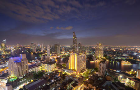 Skyline view light in Bangkok Stok Fotoğraf