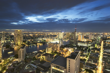 Landscape of River in Bangkok city in night time