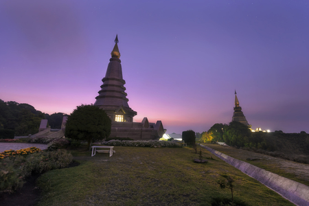 Landscape of two pagodas Noppamethanedol & Noppapol Phumsiri in an Inthanon mountain, Thailand. Stok Fotoğraf
