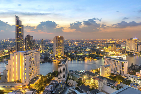Twilight sky view in Bangkok. taken picture on 37 floor lebua building .front is Thonburi  district