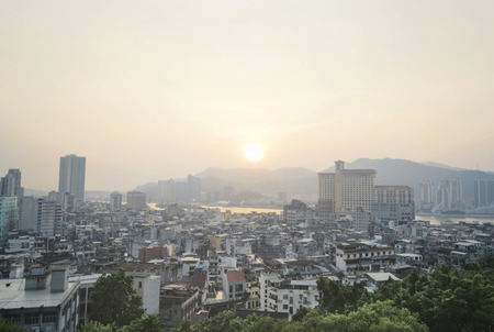 Macau city view from Above before sunset
