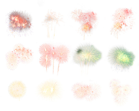 Colorful assorted fireworks selection on a white background.
