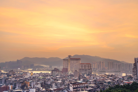 Macau city view from Above at twilight