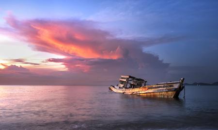 insides: old shipwreck or abandoned shipwreck. Stock Photo