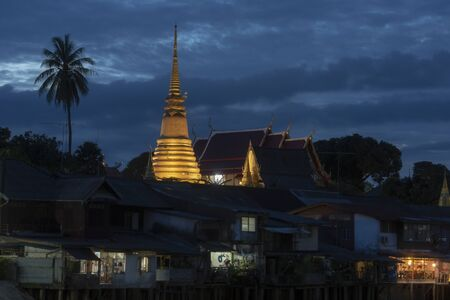 Chanthaburi old town with golden stupa on the hill in temple 版權商用圖片