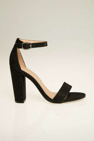 Black Cross Strap High Heels Stock Photo