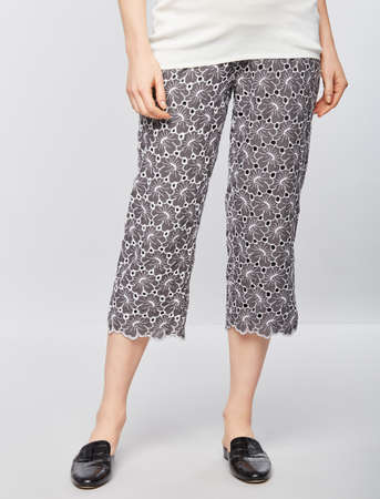 Women Apparel Cuddl Duds & Elephant Pajama Capri Cream and Black Lace,Beige Lace,