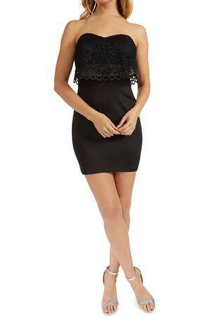 The Strapless Glitter Embellished Cutout Side High-Low Dress features a tube top, solid ottoman body-fitted dress, asymmetric glitter sheer matte jersey overlay with side ruching, and beaded trim cutout on one side of the waist.