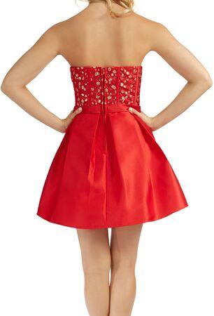 Strapless Corset Jewel Beaded Box Pleated Party Dress - Red Party Dress - Red shirt and red top with white background, Strapless Corset Jewel Beaded Box Pleated Party Dress - Red Party Dress - Red shirt and red top with white background